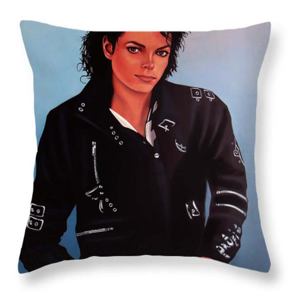 Michael Jackson Bad Throw Pillow by Paul  Meijering
