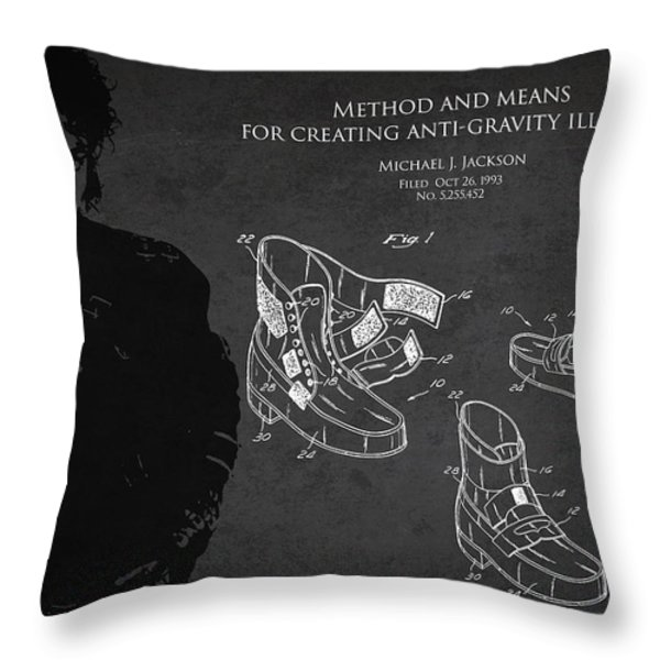 Michael Jackson Patent Throw Pillow by Aged Pixel