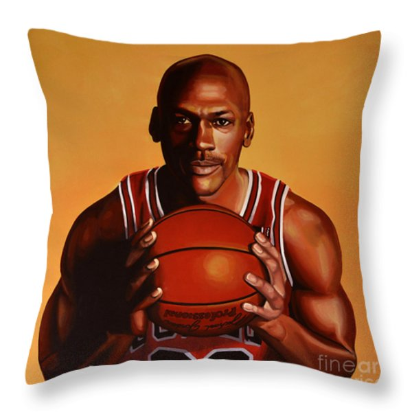 Michael Jordan 2 Throw Pillow by Paul Meijering