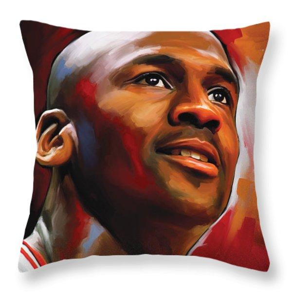 Michael Jordan Artwork 2 Throw Pillow by Sheraz A