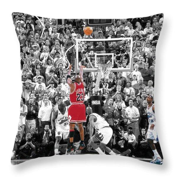 Michael Jordan Buzzer Beater Throw Pillow by BRIAN REAVES