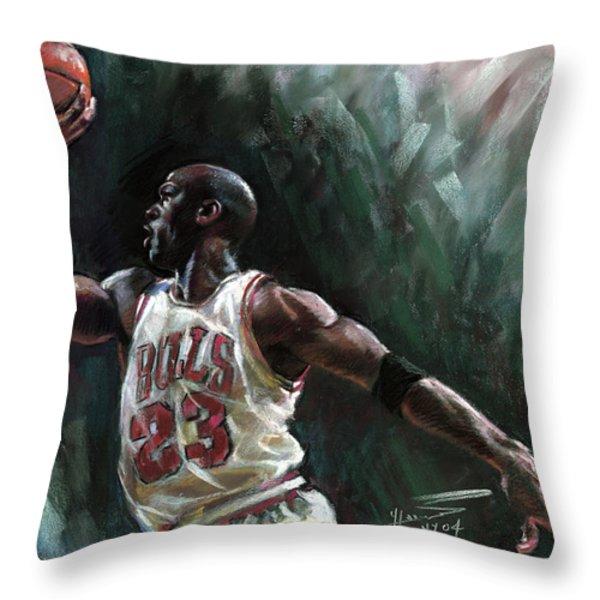Michael Jordan Throw Pillow by Ylli Haruni