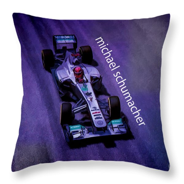 Michael Schumacher Throw Pillow by Marvin Spates
