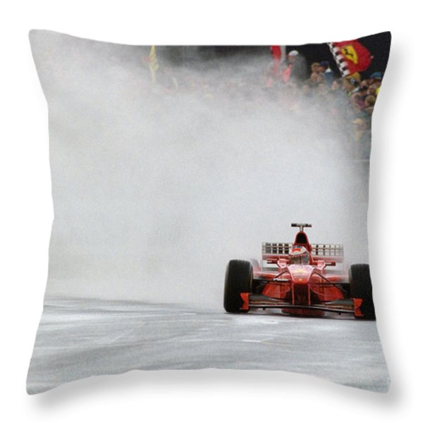 Michael Schumacher Rainmaster Throw Pillow by Gary Doak