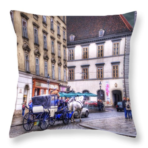 Michaelerplatz. Vienna Throw Pillow by Juli Scalzi