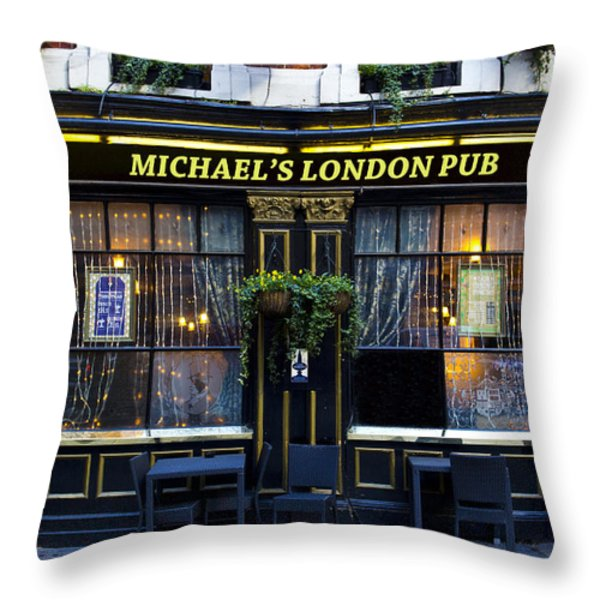 Michael's London Pub Throw Pillow by David Pyatt