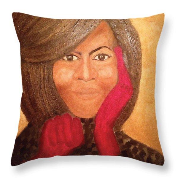 Michelle Obama Throw Pillow by Ginnie McKnight