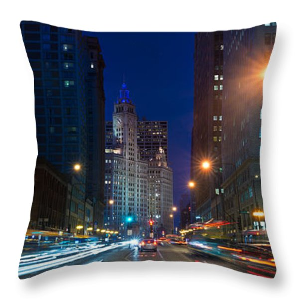 Michigan Avenue Chicago Throw Pillow by Steve Gadomski