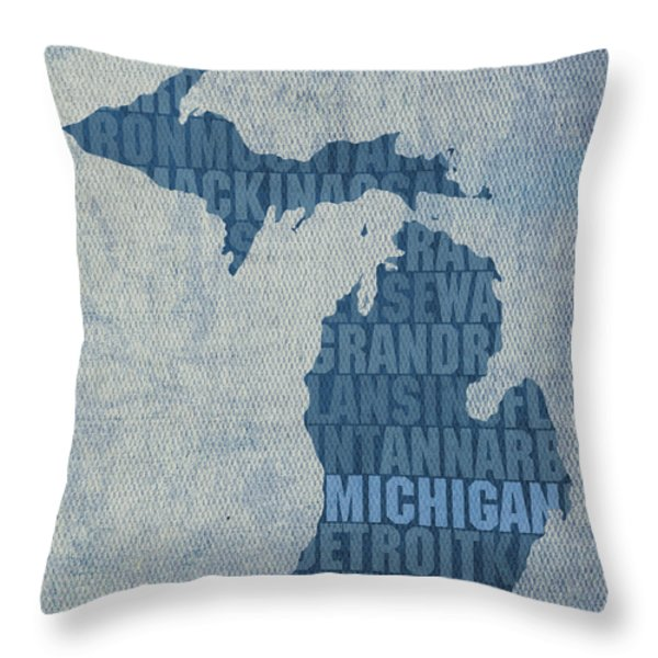 Michigan Great Lake State Word Art On Canvas Throw Pillow by Design Turnpike