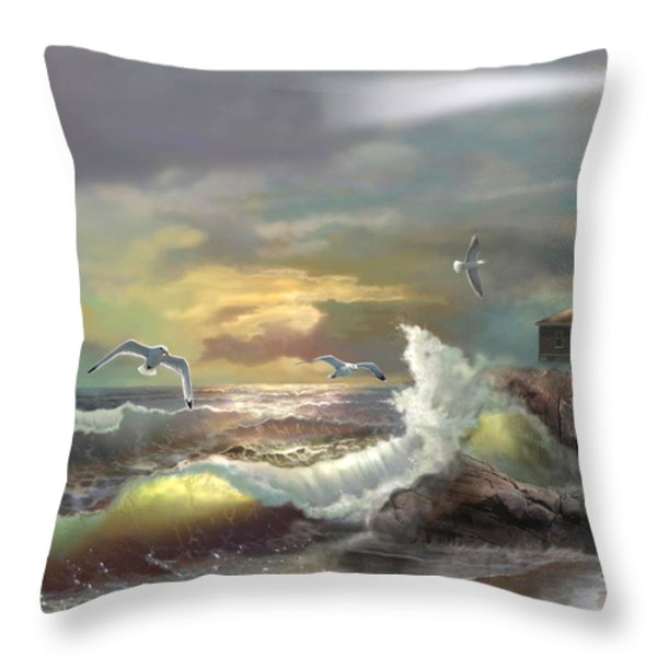 Michigan Seul Choix Point Lighthouse with an Angry Sea Throw Pillow by Gina Femrite