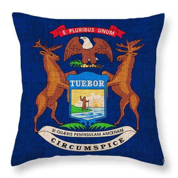Michigan state flag Throw Pillow by Pixel Chimp