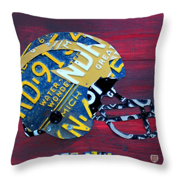 Michigan Wolverines College Football Helmet Vintage License Plate Art Throw Pillow by Design Turnpike