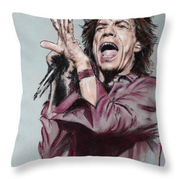 Mick Jagger Throw Pillow by Melanie D