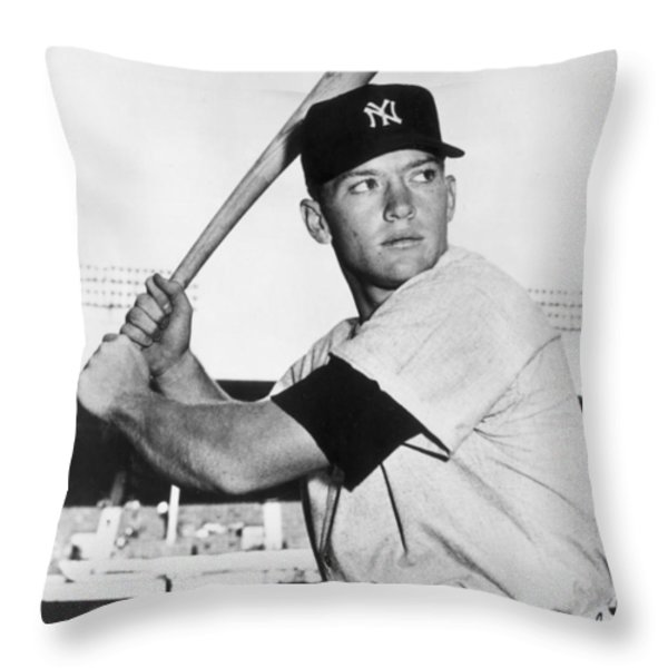 Mickey Mantle At-bat Throw Pillow by Gianfranco Weiss