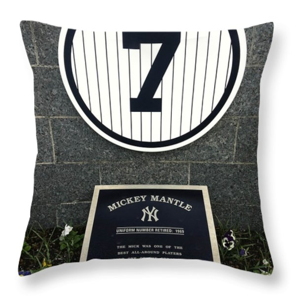 Mickey Mantle Tribute Yankee Stadium Throw Pillow by Amy Cicconi