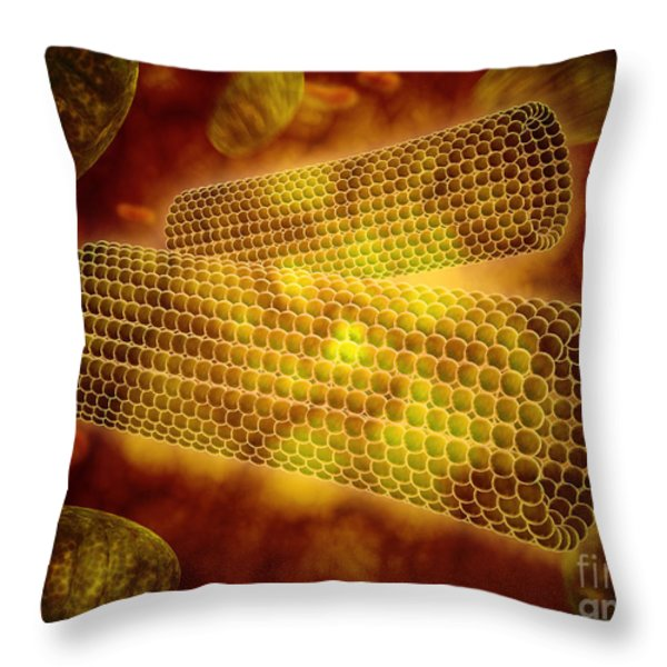 Microscopic View Of Centrioles Throw Pillow by Stocktrek Images