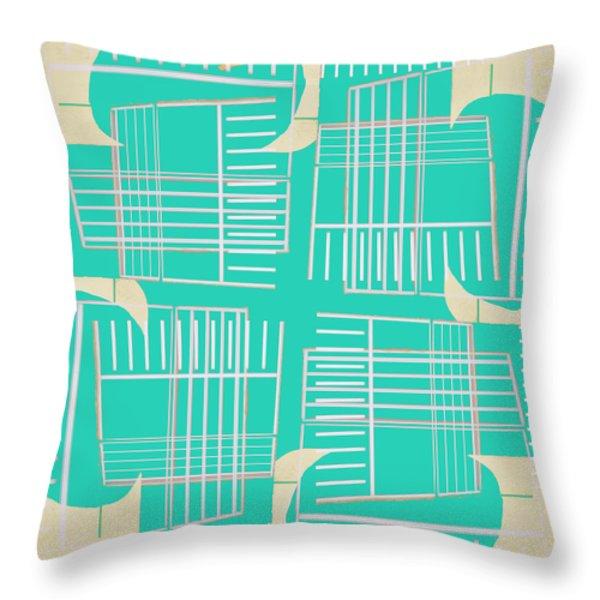 Mid-century Design Aqua Throw Pillow by Carol Leigh