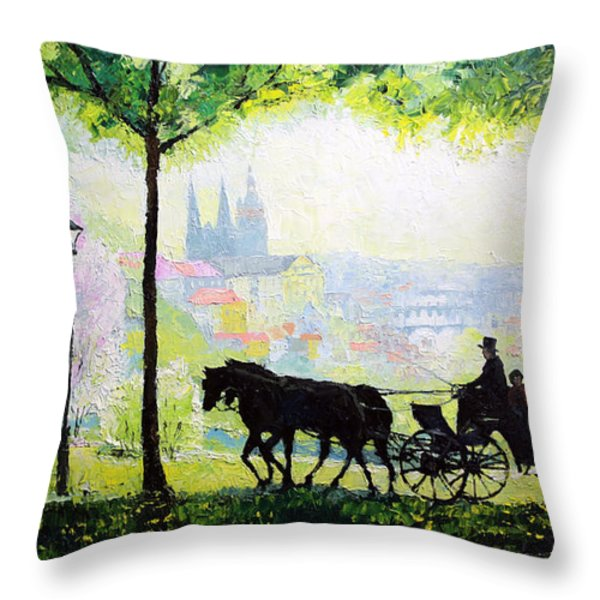 Midday Walk In The Petrin Gardens Prague Throw Pillow by Yuriy Shevchuk