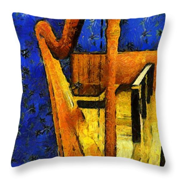 Midnight Harp Throw Pillow by RC DeWinter