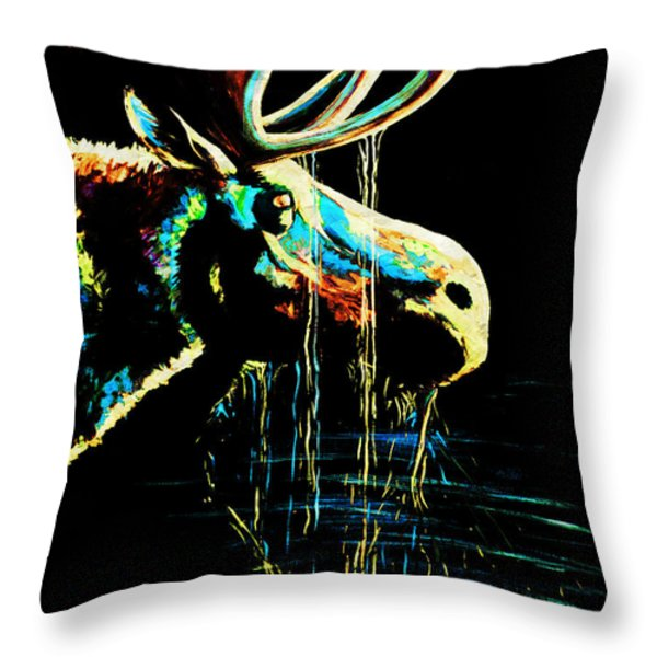 Midnight Moose Drool  Throw Pillow by Teshia Art