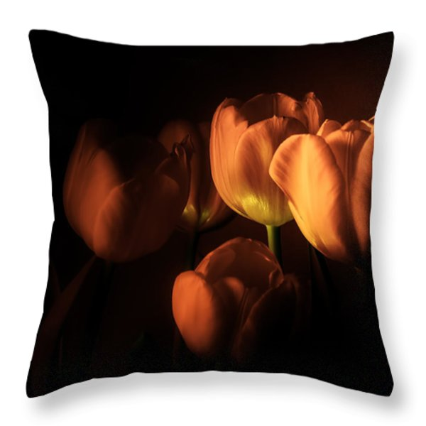 Midnight Tulips Throw Pillow by Julie Palencia