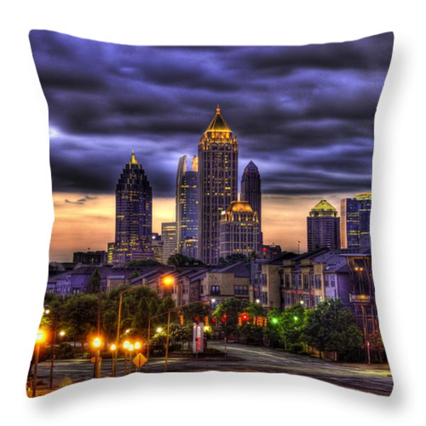 Midtown Atlanta Towers Over Atlantic Commons Throw Pillow by Reid Callaway