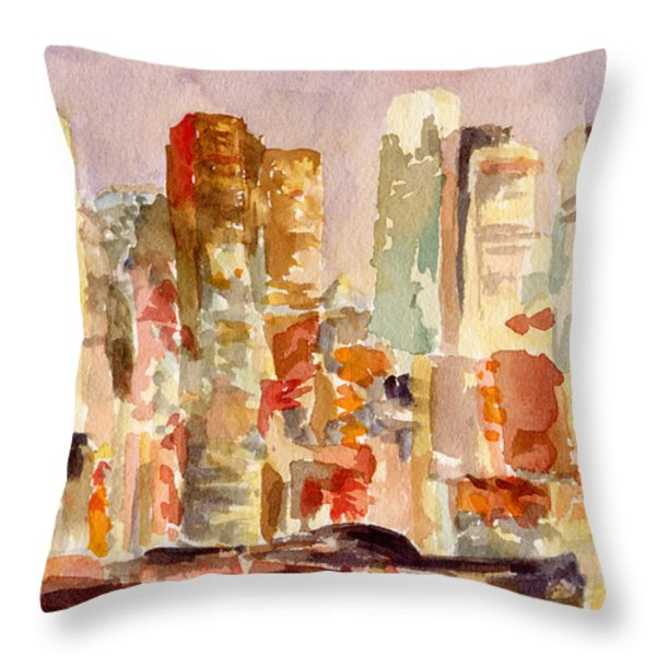 Midtown Manhattan Skyline At Dusk Watercolor Painting Of Nyc Throw Pillow by Beverly Brown Prints