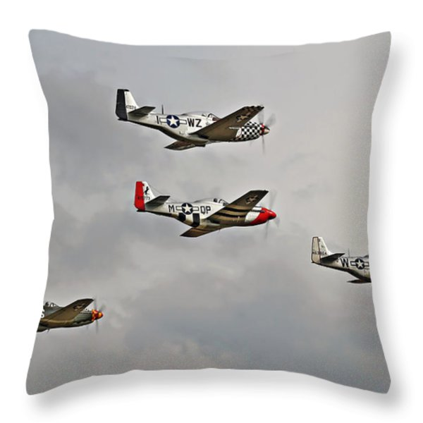 Mighty 8th P51 Mustangs  Throw Pillow by Pat Speirs