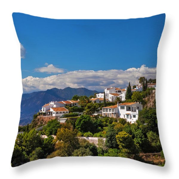 Mijas. White Village Of Spain Throw Pillow by Jenny Rainbow