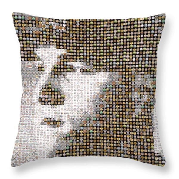 Mike Trout Mosaic Throw Pillow by Paul Van Scott