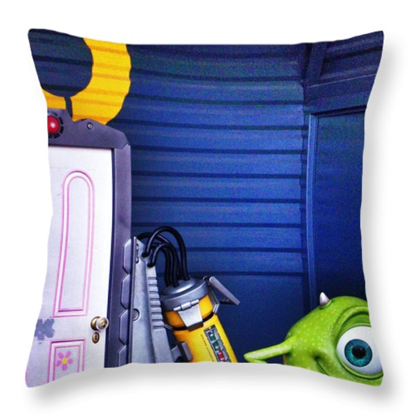 Mike With Boo's Door - Monsters Inc. In Disneyland Paris Throw Pillow by Marianna Mills