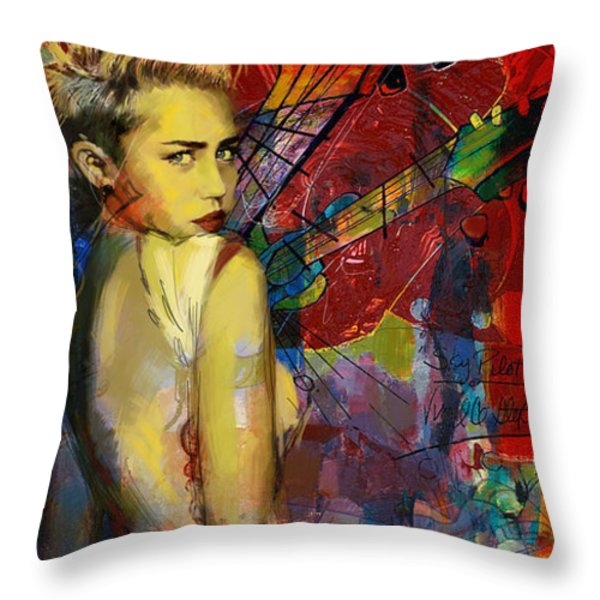 Miley Cyrus Throw Pillow by Corporate Art Task Force