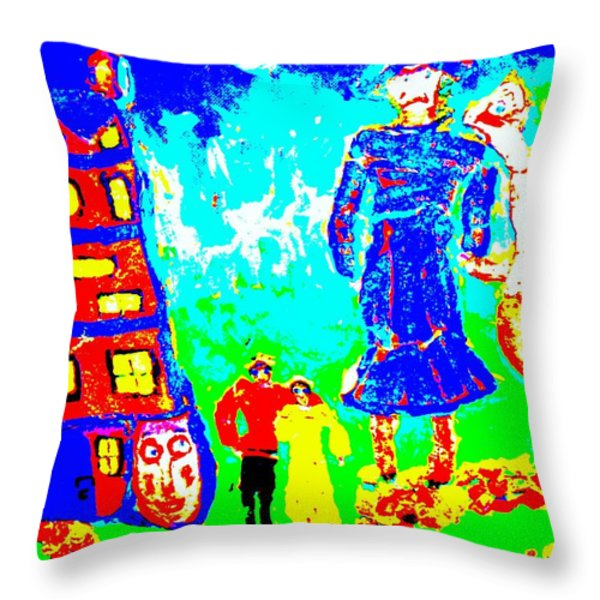 military family troll  Throw Pillow by Else Margrethe Widerberg