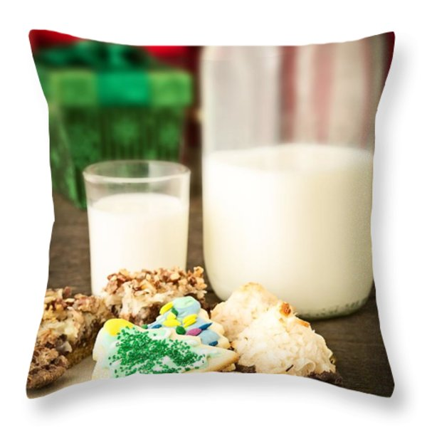 Milk and Cookies Throw Pillow by Edward Fielding