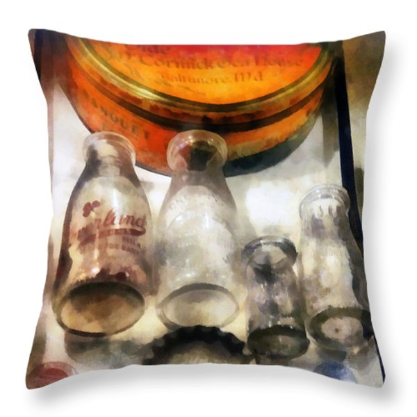 Milk Bottles in Dairy Case Throw Pillow by Susan Savad