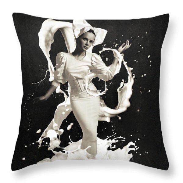 Milk Throw Pillow by Erik Brede