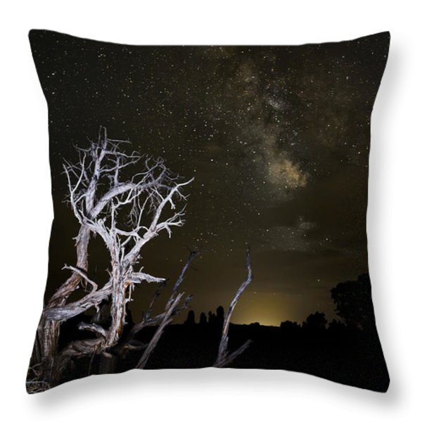 Milky Way over Arches National Park Throw Pillow by Adam Romanowicz