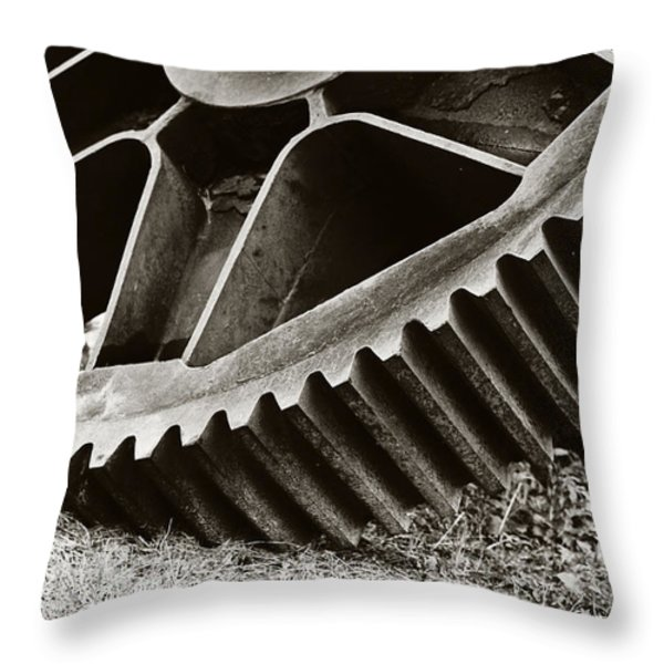 Mill Gear Throw Pillow by Scott Pellegrin