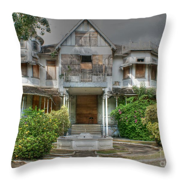Mille Fleurs Mansion Throw Pillow by David Birchall