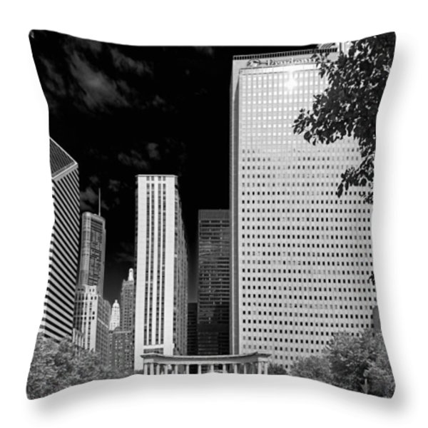 Millennium Park Monument - The Colonnade - Wrigley Square Chicago Throw Pillow by Christine Till