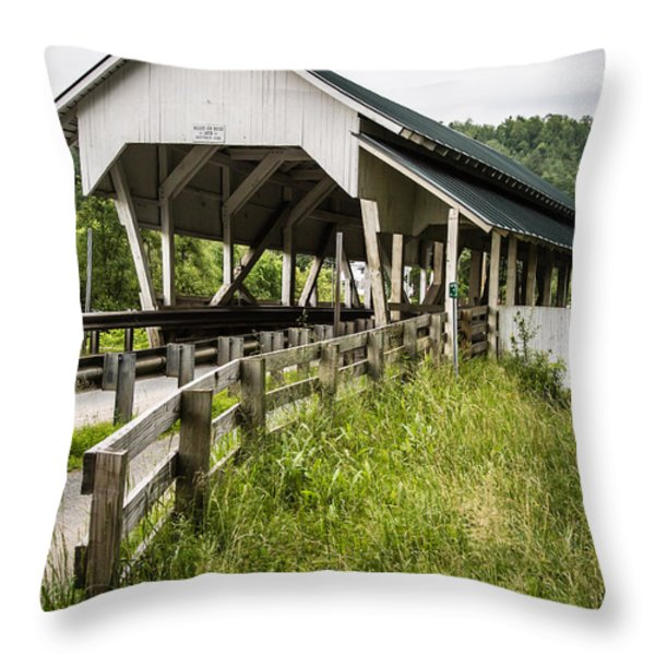 Millers Run Covered Bridge Throw Pillow by Edward Fielding