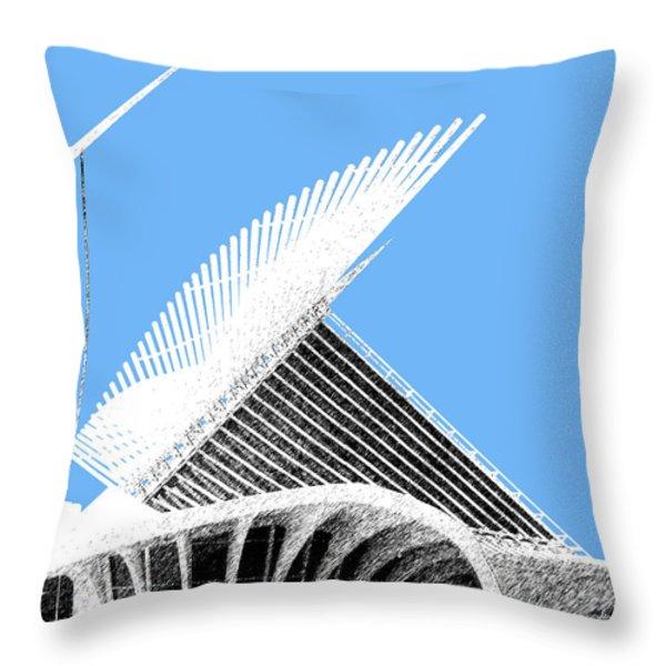 Milwaukee Skyline Art Museum - Light Blue Throw Pillow by DB Artist