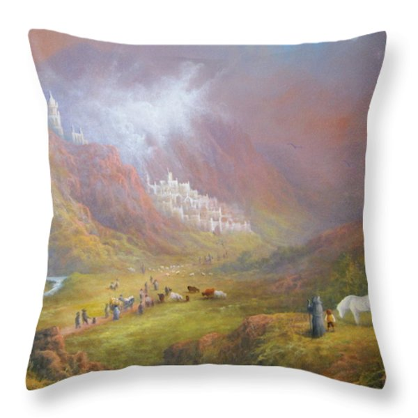 Minas Tirith  War approaches. Throw Pillow by Joe  Gilronan