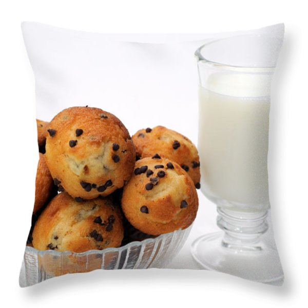 Mini Chocolate Chip Muffins And Milk - Bakery - Snack - Dairy - 1 Throw Pillow by Andee Design