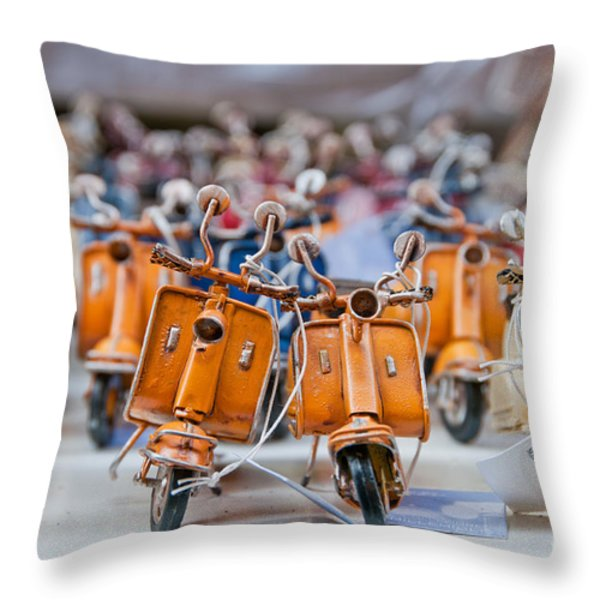 Mini Scooters Throw Pillow by Marion Galt