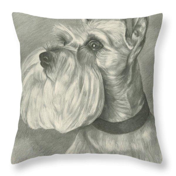 Miniature Schnauzer Throw Pillow by Lena Auxier