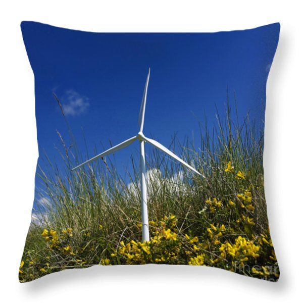 Miniature wind turbine in nature Throw Pillow by BERNARD JAUBERT