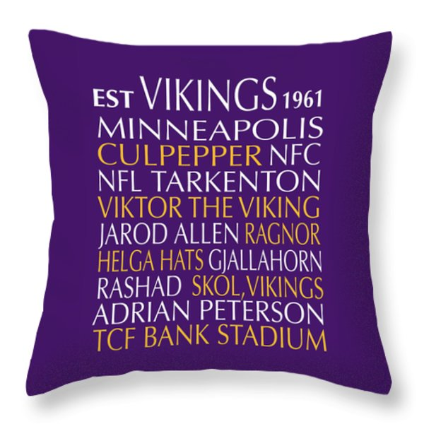 Minnesota Vikings Throw Pillow by Jaime Friedman