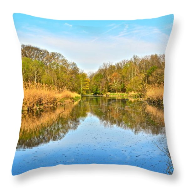 Mirror Canal Throw Pillow by Frozen in Time Fine Art Photography