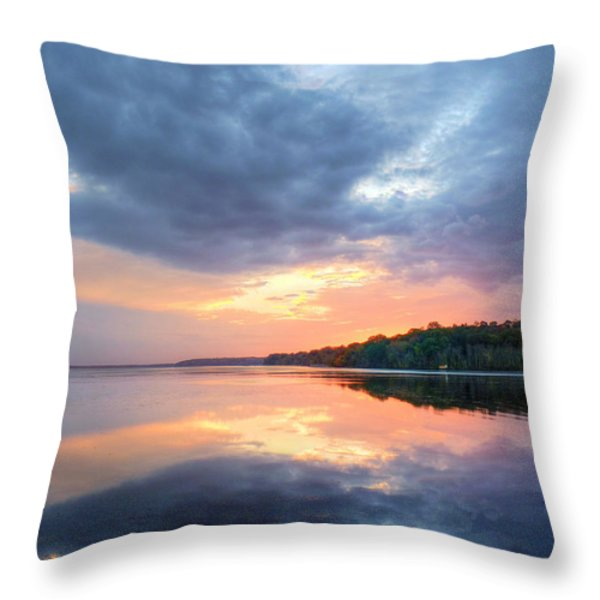 Mirrored Sunset Throw Pillow by JC Findley